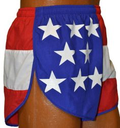 Flag Running Shorts - USA, Texas, California, Maryland and More. For a patriotic road race or any race for the fourth of july