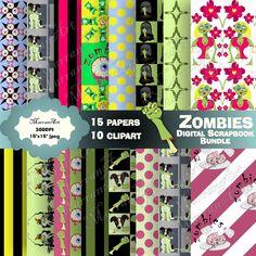 Zombies Scrapbook Bundle - Digital Paper, Clip art, clipart Art Clipart, Paper Clip, Zombies, Calendar, Clip Art, Scrapbook, Digital, Holiday Decor, Home Decor
