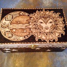 Celestial Magic Woodburned Box by WildwoodCharm on Etsy https://www.etsy.com/listing/240534454/celestial-magic-woodburned-box
