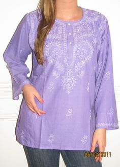 Purple Cotton Tunic Top $34.99 pure cotton embroidered Indian Tunic with long sleeves, machine washable top quality wrinkle resistant cotton. Available in many colors all sizes including plus size tunics.