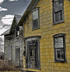 yellow abandoned house