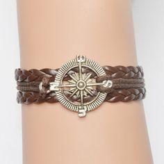 Compass bracelet, compass jewelry, leather bracelets, adjustable bracelet, friendship bracelets, valentine's gift bracelets by jl168jlpc