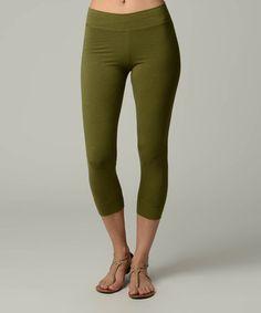 Look at this #zulilyfind! Moss Green Capri Leggings by Jonäno #zulilyfinds