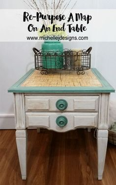 This table was pretty boring but now it has a vintage feel.  I used an old map of our state to add some interest to the top and inside the drawer. This is how t…