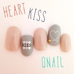ネイル デザイン 画像 792131 グレー ハート バレンタイン ソフトジェル ハンド Love Nails, Pretty Nails, Manicure, Kiss Nails, Valentine Nail Art, Kawaii Nails, Japanese Nails, Nail Patterns, Simple Nails