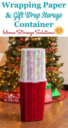 This wrapping paper and gift wrap storage container is an ideal way to organize long rolls of wrapping paper, keeping them clean, unbent, and protected while in storage featured on Home Storage Solutions 101 Wrapping Paper Storage Container, Diy Storage Containers, Gift Wrap Storage, Craft Storage Solutions, Craft Room Storage, Attic Storage, Storage Organization, Storage Ideas, Creative Storage