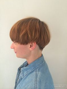 women redhead ginger undercut bowl cut hairstyle