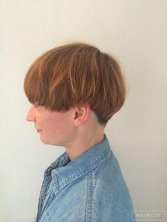women redhead ginger undercut bowl cut hairstyle