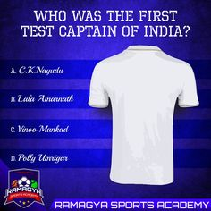 Guess the name of first Test Captain of India. #Ramagya #RamagyaSportsAcademy #learn #train