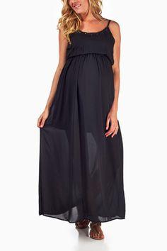 Black-Studded-Neckline-Maternity-Maxi-Dress