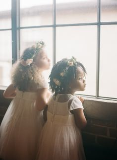 The cutest flower girls: http://www.stylemepretty.com/2016/05/20/the-ceremony-backdrop-a-staircase-filled-with-candles/ | Photography: Kendra Elise - http://www.kendra-elise.com/