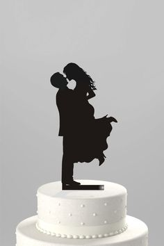 Wedding Cake Topper Silhouette Groom Lifting his Bride, Acrylic Cake Topper with Removable Spike and FREE Base [CT17]