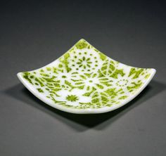 white floral glass dish by glasstouch on Etsy, $24.00