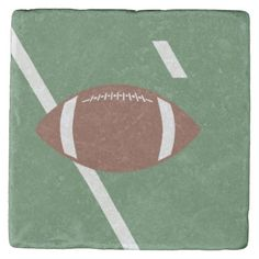 This design features a football on a football field. This stone coaster can be added to a sports theme room or a football man cave. Great for anyone who loves football. Football Man Cave, Football Field, Tabletop Accessories, Stone Coasters, Custom Coasters, Drink Coasters, Hostess Gifts, House Warming, Beverage