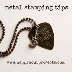 Beginner's guide to making metal stamped jewelry including what to buy, how to get started, and personal recommendations at www.happyhourprojects.com