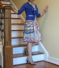 print dress with solid cardigan and belt