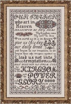 My Big Toe Designs Lord's Prayer - Cross Stitch Pattern. This stunning representation of the Lord's Prayer was stitched on 32 Ct. Blackwork Patterns, Embroidery Patterns, Blackwork Embroidery, Cross Stitch Samplers, Cross Stitching, Cross Stitch Designs, Cross Stitch Patterns, Alphabet Style, Toe Designs