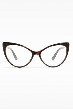 'Kourtney Kardashian 3' Clear Cat Eye Glasses - Tortoise - 5359-2