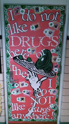Red Ribbon Door decorating Dr. Seuss Green Eggs and Ham Say no to drugs