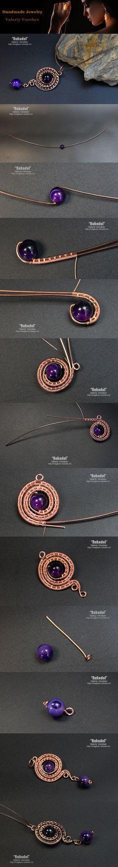 Pendant made of copper wire. Wire Wrap tutorial.