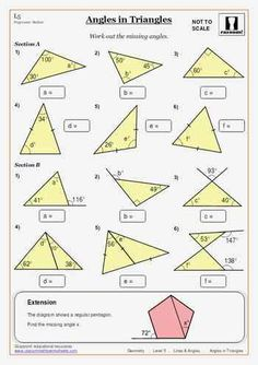 Printable Worksheets Angles in Triangles Maths Worksheet
