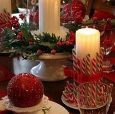 Christmas decorations - Love candy cane piece with candle :)