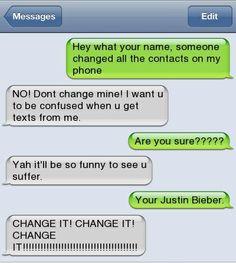 contact name change - Justin Bieber