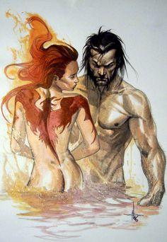 Phoenix & Wolverine// artwork by Gabriele Dell'Otto (2009)