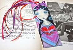 Sharing my Heart - Laminated Bookmark Handmade - Original Art by FLOR LARIOS