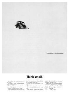 """Volkswagen, """"Think small"""", 1959, Allemagne (?) / Doyle Dane Bernbach's (DDB)"""