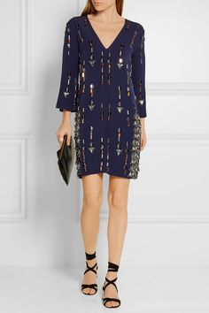 By Malene Birger | Cesili embellished stretch-jersey mini dress | NET-A-PORTER.COM