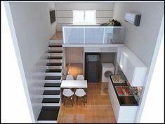 New Home Design Kitchen Loft Ideas Tiny Loft, Tiny House Loft, Modern Tiny House, Small Loft, Small House Design, Tiny House Living, Apartment Layout, Apartment Design, Loft Design