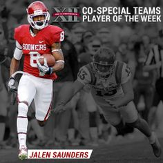 Join us in congratulating Jalen Saunders on earning Big 12 Co-Special Teams Player of the Week honors!