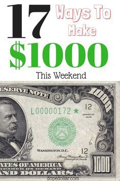 Need extra money? Here's 17 ways to make 1000 dollars by the end of the week! Click here to check the list out.
