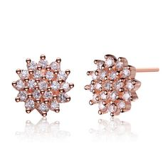 Collette Z Rose-plated Sterling Silver Cubic Zirconia Cluster Earrings