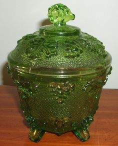 "My sister and I each had one of these on our dressers.  One was gold, the other green just like this one.  It is not ""depression glass"", as labeled when I first found and pinned this.  Definitely '60s."