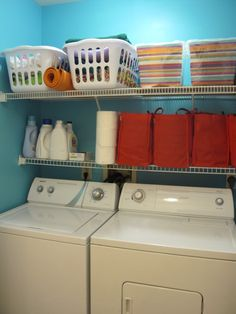 putting multiple laundry baskets on a high shelf might be a do-able alternative