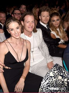 (L-R) Hayley Stommel , musicians Tyler Hubbard and Brian Kelley of Florida Georgia Line and Brittney Marie Cole Kelley attended the 2015 Billboard Music Awards at MGM Grand Garden Arena on May 17, 2015 in Las Vegas, Nevada.