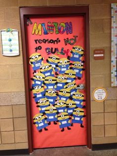 Minions door for Red Ribbon Week 3rd Grade Classroom, Classroom Design, Classroom Decor, Classroom Organization, Anti Bullying Month, Bullying Bulletin Boards, Minions, Bullying Posters, Professor