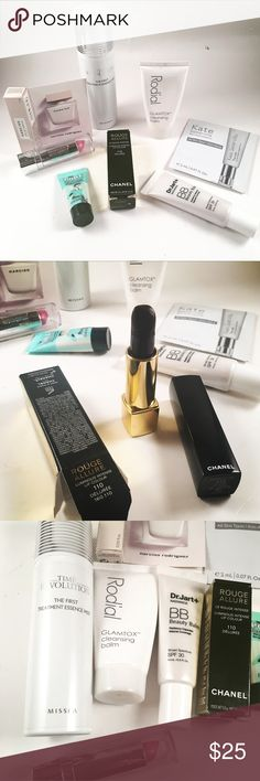 Beauty pack. 8 items. Chanel lipstick and more Beauty pack . Includes 8 items. Chanel rouge allure luminous intense 110 Deluree. Hydraquelle HM 33 pink color. Rodial glamtox cleansing balm. Narciso eau de parfum..The revolution treatment essence mist. The porefessional  balm. Dr jart+ BB beauty balm spf 30 . Kate somerville anti aging sample. CHANEL Makeup Lip Balm & Gloss