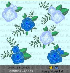 Vintage Flowers Cliparts. Flowers vector graphics, Vintage Flowers digital clip art, digital images. Commercial use. Model Vintage Flowers 3