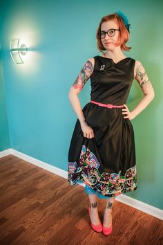 Star Wars Comic Applique Dress Black Satin 1960's by OhmeThreads, $80.00