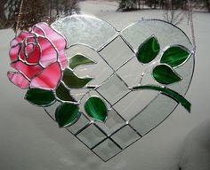 Rose Heart - Pink Stained Glass Panel