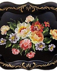 Vintage Hand Painted Chippendale Tole Tray Table Cabbage Roses-antique, french,tin,pink,coral,blue, yellow,roses,white, shabby