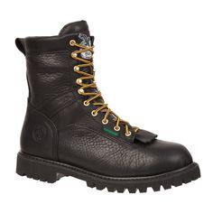 Georgia Mens Black Leather Waterproof Low Heel Logger Boots
