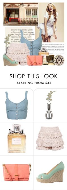 """""""Stereo Streets"""" by johaae ❤ liked on Polyvore featuring Kerr®, Jennifer Lopez, Topshop, Nambé, Christian Dior, Orla Kiely, Vince Camuto, lace, pastel shoes and lace shorts"""