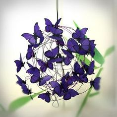 Lamp with violet butterflies Purple Rain by MatchDelacroix on Etsy, COOL! Lamp with violet butterflies Purple Rain by MatchDelacroix on Etsy, Butterfly Lamp, Butterfly Crafts, Purple Butterfly, Origami Butterfly, Butterfly Stencil, Butterfly Kids, Butterfly Mobile, Butterflies, Plafond Rose