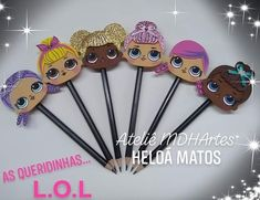 LOL Fun Crafts For Kids, Diy And Crafts, Paper Flowers For Kids, Clay Pen, Toddler Girl Gifts, Pencil Toppers, Doll Party, Decorate Notebook, Lol Dolls