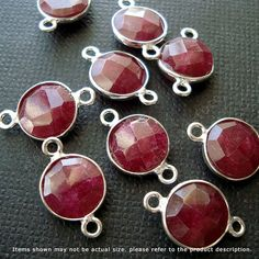 15mm (8mm Stone) Ruby (dyed) Bezel Gemstone Encased Connector Sterling Silver 2 loops F391S- 4 pcs