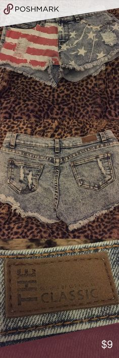 Jean shorts size 12 girls with flag and stars Cute Jean shorts with American flag and stars size 12 girls Bottoms Shorts